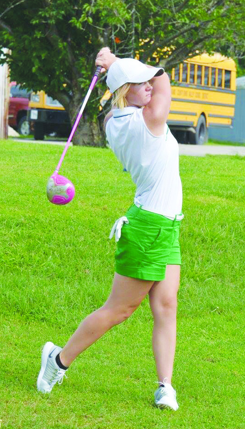 Senior Mackenzie Smith paced the West Union girls golf team by shooting a 38 as the Lady Dragons broke the course record at the Adams County Country Club.