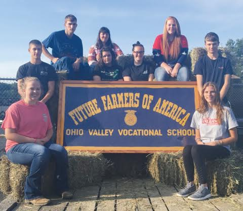 Pictured here is the 2016-17 Ohio Valley FFA Officer Team.  Front row, from left, Josie McDowell, President and Gabby Rose, Vice President; Second row, from Garrett Allen, Sentinel, and Colten Ball, Student Advisor; Third row, from left, Jennifer Scott, Secretary, Samantha Tolle, Reporter and Jacee Brock,Treasurer; Back row, from left,  Chris Daub, Second Vice President, and Krisheana Pitre, Chaplain.