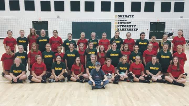 "A junior high volleyball match on Sept. 19 at North Adams High School was a special evening as it was ""Drew's Troops"" Night as the Lady Devils entertained Fairfield.  The junior high teams, pictured above with NAES student Drew Reid in front, battled it out on the court but all the proceeds from the night went to part of Drew's battle with cancer, all of the money going to the Ronald McDonald House in Drew's name, a job well done by all."