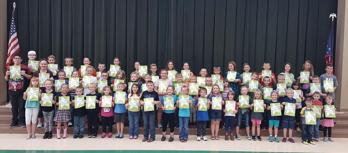 North Adams Elementary School recently honored its Students of the Month for September.  They are pictured here with their awards.  Front row, from left, Haylee Arthur, Aubrey gill, Bailey Bess, Mason Lawson, Trace Evans, Lucy Beam, Noah Pace, Anniston Sumpter, Kaden Wilson, Jaylyn Humphrey, Tenzlee Burns, Colt Ward, Ashlyn Fitzgerald, Alexis Marshall, Kennedi Campbell, Sydney McCann, Emma Hafer, Zane Yous, Easton Raines, Zane Rothwell, and Reagann McAdams; Middle row, from left, Quaid Alexander Shaw, Brooke Robinson, Ryleigh Cox, Peyton Phillips, Emmy Holt, Kaiden Mason, Alaina Chaffin, Kendric Fithen, Memphis Fite, Leah Lamb, Zander Beam, Sydney Davis, James Work, Amanda Baldwin, Braxton Ward, Zachariah Mofford, Colt blithe, Terra Chappel, and Carsyn Raines; Back row, from Drew Reid, Skylar Stapleton, Keetyn Hupp, Olivia Wright, Jaden Butler, Jessie Moore, Chloe Compton, Hunter Brown, Leeah Saylor, Kyla Mahon, Addison Robinson, Boston Crawford, Anna Armstrong, Carson Osborne, Jayce Rothwell, Daisey Groves, Katelynn Boerger, and Brayden Allen.  Absent from the photo were Ryan Shelton, Emmalynn Sharp, Trey Hoop, and Ellie Bosko.