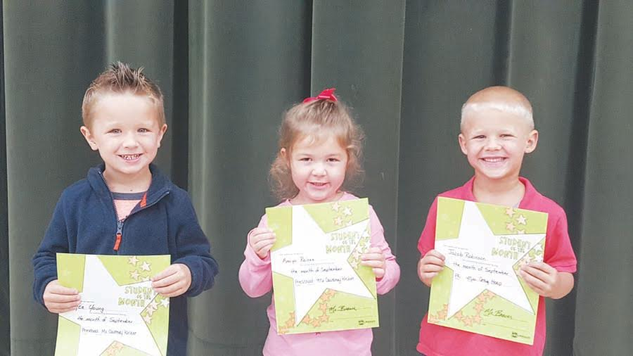 The North Adams Elementary Preschool Students of the Month for September are fro left, Rayce Young, Amiya Raines, and Jacob Robinson.