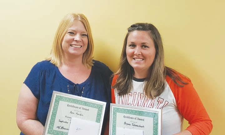 The North Adams Elementary Staff Members of the Month of September are, from left, Ann Hardin and Bryana Schweickart.
