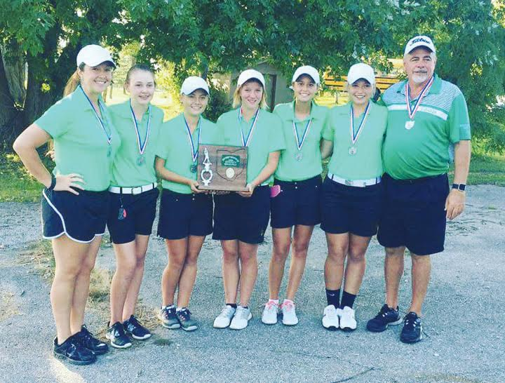 The West Union Lady Dragons concluded an outstanding 2016 season by placed second in the Division II District Tournament. Pictured, from left, Assistant Coach Arianna Bowles, Lindsey Daniel, Alex Clark, Mackenzie Smith, Lucy Kersey, DeAnna Caraway, and Head Coach Carl Schneider.