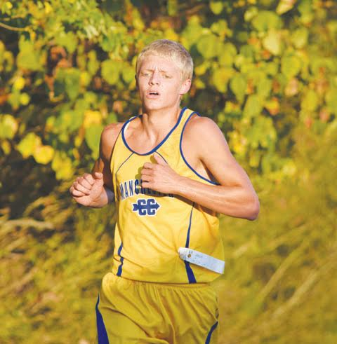 Manchester junior Jamie Combs placed second behind teammate Ethan Pennywitt in the high school boys race at the Oct. 4 West Union Invitational.  Combs finished the race with a time of 18:34.