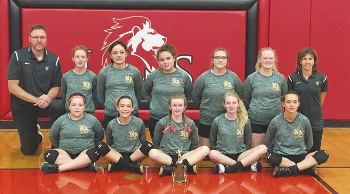 The seventh grade girls from North Adams were runners-up in the SHAC Tournament, finishing their season with an overall record of 9-8.  Front row, from left, Grace Pence, Sierra Kendall, Myla Toole, Calee Campbell, and Chelsy Conley; Back row, from left, Head Coach Rob Meade, Samara Myers, Lauren Eiterman, Annie Baker, Maleah Hall, Jadyn Wright,  and Assistant Coach Jill Lahmers.