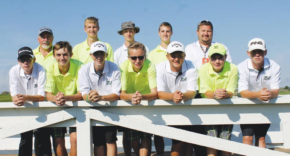 Pictured here are the West Union and North Adams boys golf teams who participated in last weekend's Division III state golf tournament.  The Dragons placed ninth in the state and the Devils 12th.