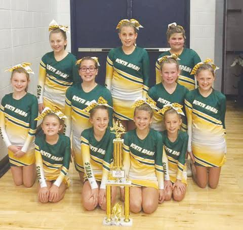 Manchester High School hosted the inaugural Southern Ohio Cheer Challenge on Oct. 15, sponsored by 1st Stop.  Pictured here is the North Adams Pee Wee squad, who placed first in their division.