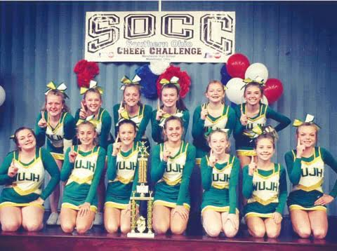 First place in the Junior High Mounding Division at the Southern Ohio Cheer Challenge went to West Union Junior High.
