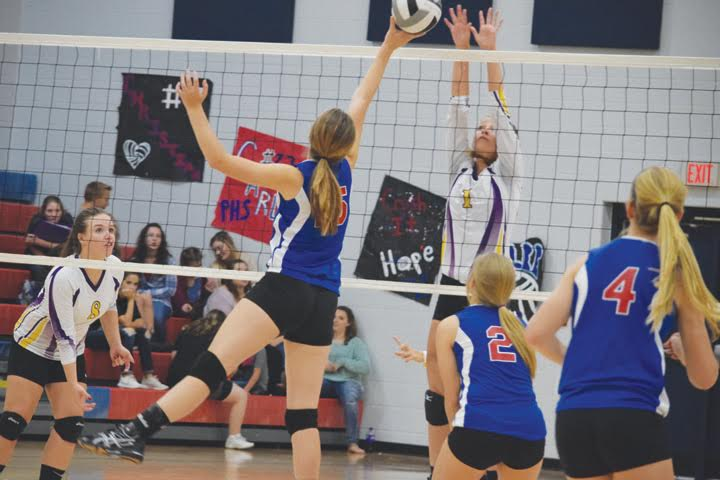 Peebles senior Jessica Johnson goes up for a play at the net during the Lady Indians' sectional tournament loss to Lucasville Valley on Oct. 18.