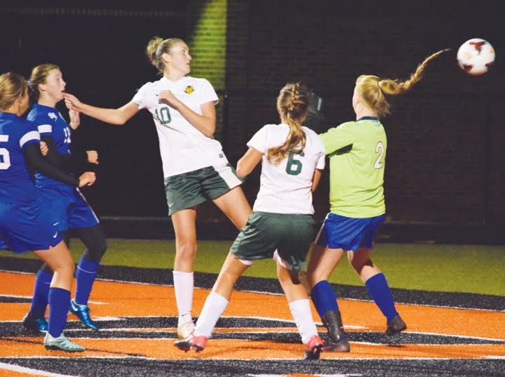 North Adams senior Abby Shupert (10) got just enough of this ball to get it past the Southeastern goalkeeper with 28:51 left in the game, for what turned out to be the game-winning score for the Lady Devils.