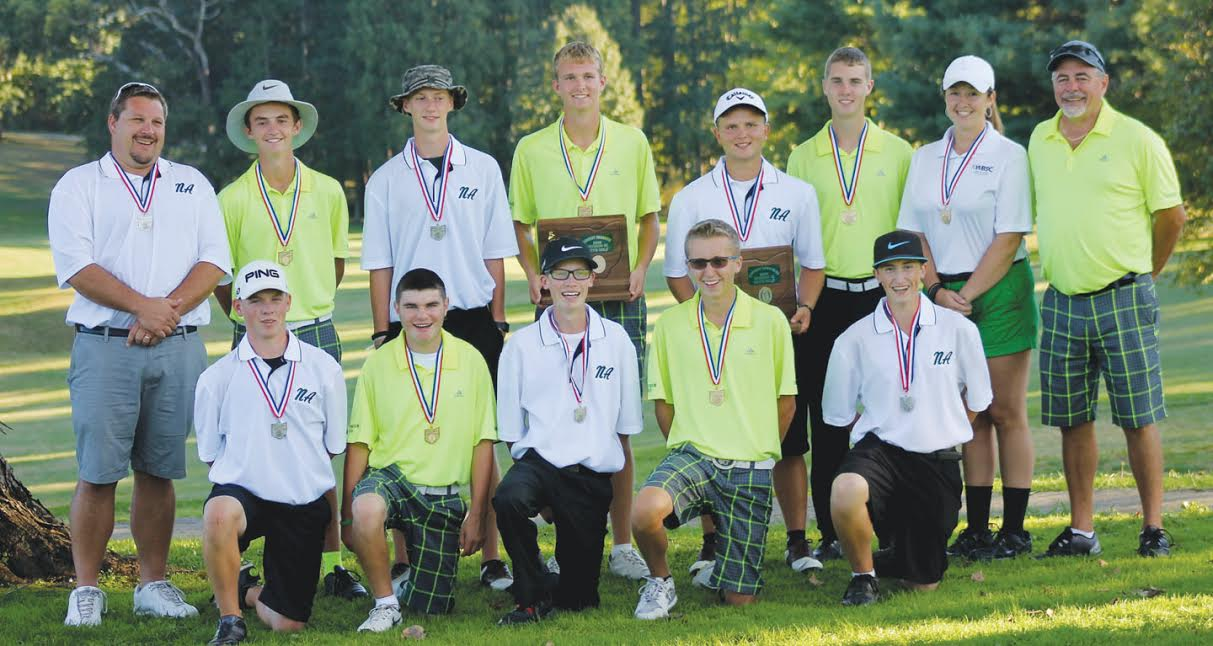 It has never happened before but it will happen on Oct. 14 as two boys golf squads from Adams County will be part of the OHSAA State Tournament, played at the North Star Golf Club in Sunbury.  By virtue of their 1-2 finish in the Division III District Tournament on Oct. 3, West Union and North Adams will be competing for state championships in golf.  For the Dragons it will be a return to state for the second straight season, while for North Adams it is the first state trip since 2001.  Above the two teams posed together after Monday's district play.  Front row, from left, Bryant Lung, Jacob Pell, Noah Lung, Tyler Fowler, and Carson Hall: Back row, from left, North Adams Head Coach Ammon Mitchell, Elijah McCarty, Colt Shumaker, Craig Horton, Patrick England, Eli Fuller, West Union Assistant Coach Arianna Bowles, and West Union Head Coach Carl Schneider.  Look for more on the distric tournament in our weekend edition sports pages.  Photo by Patrice Yezzi England