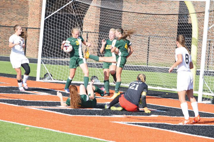 This kind of hectic action in front of the net occurred quite often as North Adams battled Wheelersburg in the Division III district championship game.