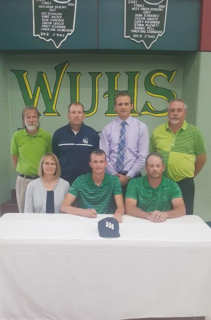 Present for the signing ceremony at WUHS were: Front row, from left, Tina Horton (mother), Craig Horton, and Danny Horton (father); Back row, from left, WUHS Co-Athletic Director Jason Little, SSU Golf Coach Dave Hopkins, WUHS Principal Roger Taylor, and WUHS Golf Coach Carl Schneider.