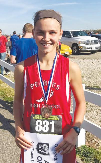 Peebles sophomore Jenny Seas finished sixth in the OHSAA Division III state cross-country meet with a time of 18:38.0.  It was Seas' second consecutive trip to the state meet.