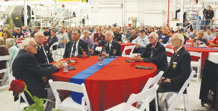A crowd numbering several hundred gathered on Nov. 8 at GE in Peebles to honor local veterans.  The facility shut down their operations for the day in honor of the veterans.