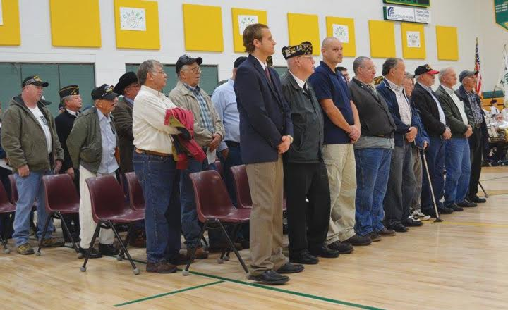 A large number of local veterans assembled at West Union High School on Nov. 10 as the school honored them and all veterans with an impressive ceremony full of music and patriotism.