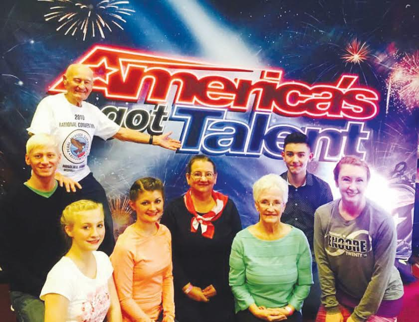 "The member of the Fancy Free Cloggers are anxiously awaiting the call to be part of ""America's Got Talent."" From left, Jim Kimmerly, Dustin Williams, Krista Bentley, Randi Milburn, Rosemarie Scott, Evie Poe, Jordan Ozeta, and Sheila Spencer."