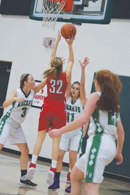 Peebles freshman Tatum Arey (32) goes up for two of her 10 first quarter points, helping to lead the Lady Indians to a 22-17 win over Fayetteville in the annual SHAC Preview, held last Friday night at North Adams High School.