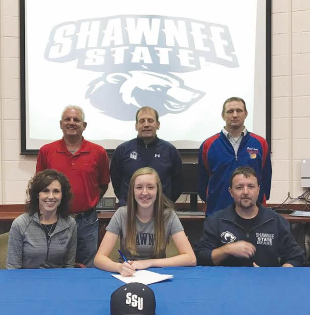 Peebles senior Savannah McCoy recently signed her letter of intent to play golf at Shawnee State, becoming the first female in school history to do so.  Taking part in the signing ceremony were: Front row, from left. Angie McCoy (mother), Savannah McCoy,, and Chad McCoy (father);  Back row, from left, Peebles golf coach Vohn Hoop, SSU Golf coach Dave Hopkins, and Peebles Athletic Director Josh Arey.
