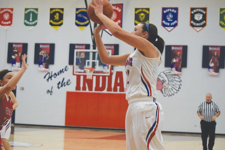 This was a familiar sight for Peebles fans and Felicity defenders on Saturday as Lady Indians' junior McKinlee Ryan nails one of her four three pointers on the day as Peebles  knocked off Felicity 57-36 in the season opener for both teams.