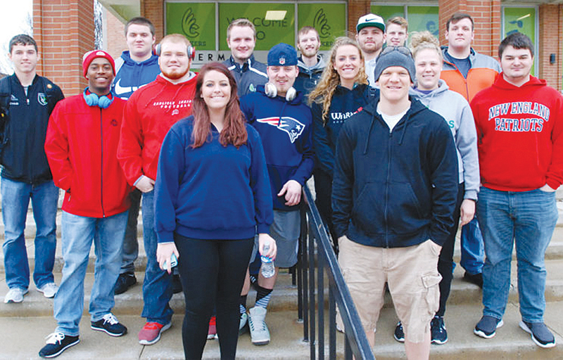 2014 Manchester High School graduate Tyler Brummett (right side with hat), was part of a group of Wilmington College students who had the experience of a lifetime being part of a volunteer force for Super Bowl LI in Houston last month.