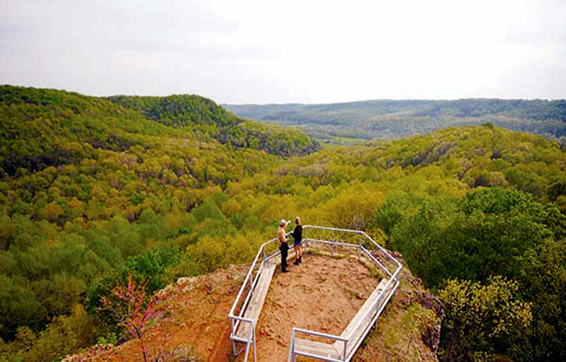 One of the most popular hikes in the county is Buzzardroost, a 4/5 mile round trip trek that offers a spectacular overlook of the Brush Creek valley.