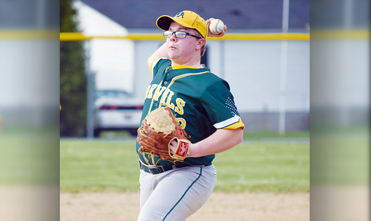 Right hander Tyler Horsley pitched the final two innings for North Adams in their 24-0 win over Ripley on April 10.