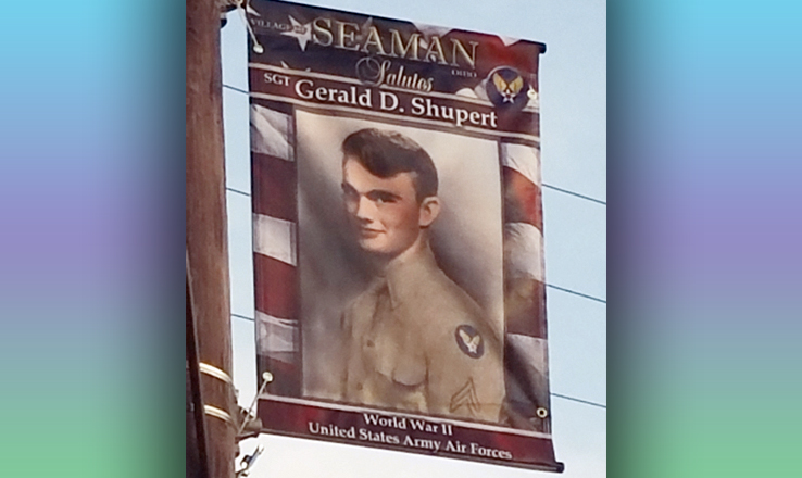 Banners such as this one proudly fly on the streets of Seaman, honoring local veterans who have served