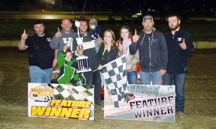 Derek Minshew in Victory Lane after winning in his Legend Car in action at the Brushcreek Motorsports Complex on May 13.