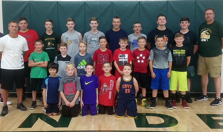 Pictured here are the campers and staff from the third, fourth, and fifth grade North Adams Boys Basketball Camp.