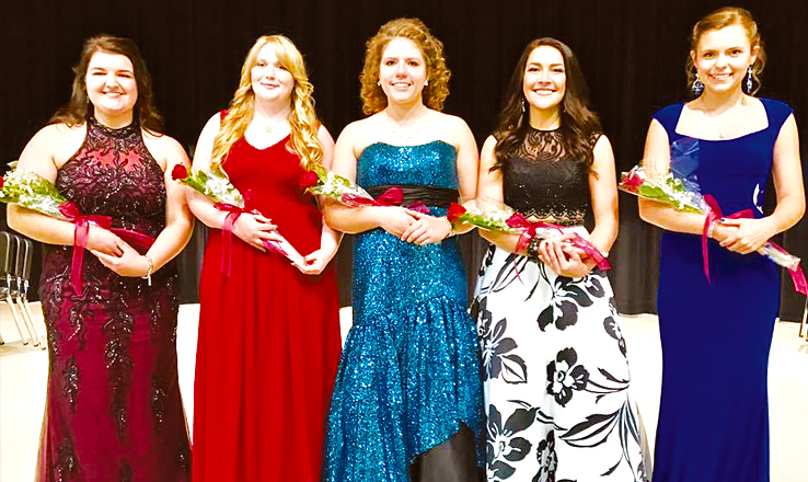 The 2017 Adams County Junior Fair Queen finalists include, from left, McKayla Raines, Veronica Day, Madison Siders, McKayla Smith, and Kelsea Hamilton.