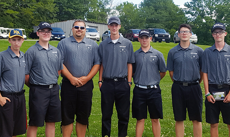 Pictured above are the North Adams High School golfers who participated in the Aug. 8 McClain Invitational, where the Green Devils placed second.  From left, Carson Hall, Nick Fish,Coach Ammon Mitchell, Colt Shumaker, Bryant Lung, Uriah Hall,and Noah Lung.