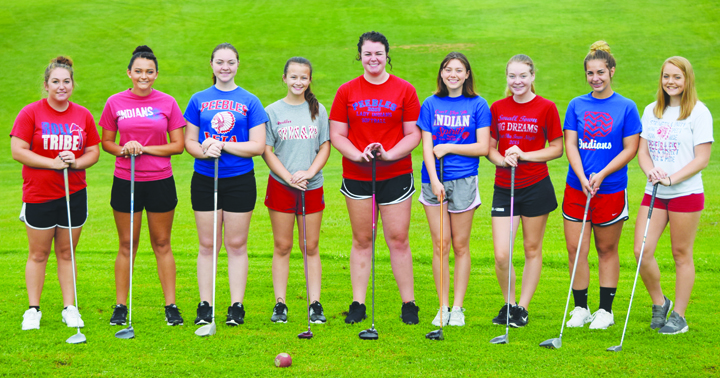 The 2017 Peebles girls golf squad, from left, Nicole Burns, Jessica Newman, Shay Boldman, Jasmine Francis, Katie Setty, Sarah Laxton, Brooklyn Cluxton, Tessa Gaffin, and Holly Niswander.  Absent from the photo was Anna McElwee.