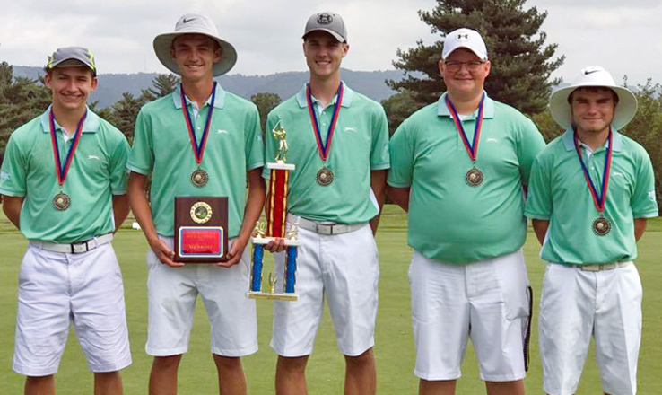 "Champions of the Aug. 10 Portsmouth Invitational were the West Union ""A"" squad, from left, Conner Campbell, Medalist Elijah McCarty, Eli Fuller, Carson McFarland, and Jacob Pell."