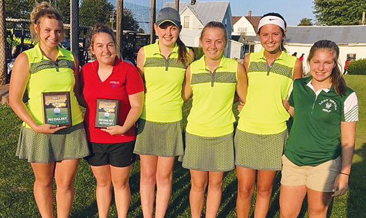 Pictured above are the top six golfers in last Friday's girls Adams County Cup, all of whom achieved All-County recognition for their finishes.  From left, DeAnna Caraway (WUHS), Nicole Burns (PHS), Lindsey Daniel (WUHS), Alex Clark (WUHS), Lucy Kersey (WUHS), and Brooklyn Tolle (NAHS).