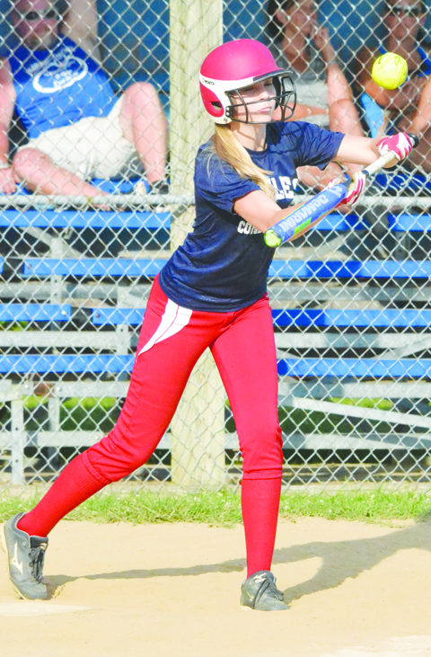Peebles' Josie Myers squares around to bunt in the Lady Indians' semi-final win over Manchester in the Hillsboro AA Tournament.