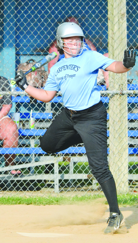 Manchester's Yasmin Lucas needs a hop, skip, and a jump to get out of the way of an errant pitch during last week's AA League tournament semi-final game in Hillsboro.